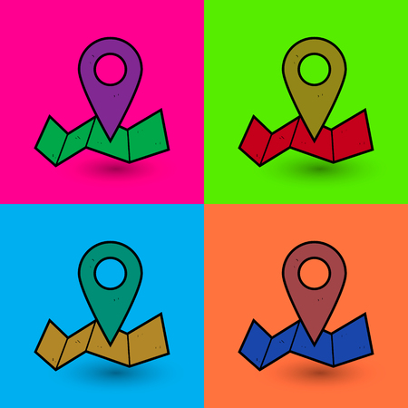 color reflection: mapping pins icon vector hand drawn illustration