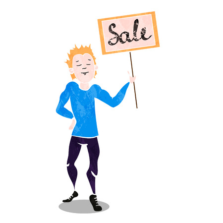 suprise: boy show the blank billboard with sale. Vector illustration