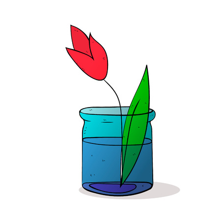 small group of object: tulip flower in glass jar colorized vector illustration on white background