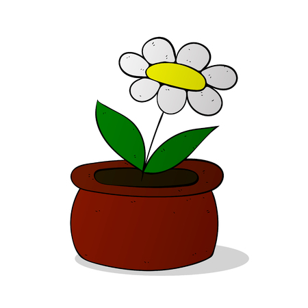 chamomile flower: chamomile flower in pot colorized vector illustration on white background Illustration