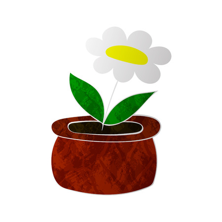 chamomile flower: chamomile flower in pot colorized texture without contour vector illustration on white background