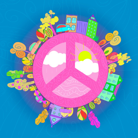 nonviolence: peaceful bright planet, peaceful city vector illustration Illustration