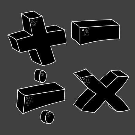 multiply: freehand drawn cartoon math symbols plus minus multiply divide volume