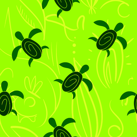 Vector seamless decorative pattern. Hand drawn turtle tribal background. Vettoriali