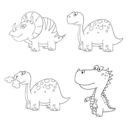 carboniferous: dino set icon 4 vector different contour dinosaur frame