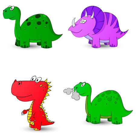 pettifogs: dino set icon 4 vector illustration dinosaur