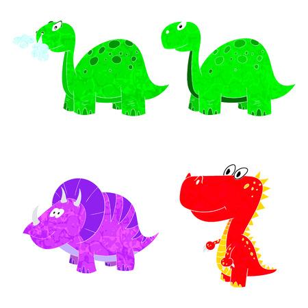 pettifogs: dino set icon 4 vector texture dinosaur Illustration