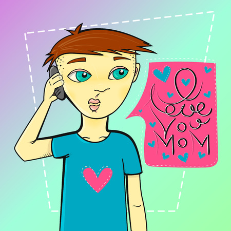 calling on phone: Man calling phone. Boy calling his mother. Speach cloud. I love you mom. Vector illustration. for card or your various options
