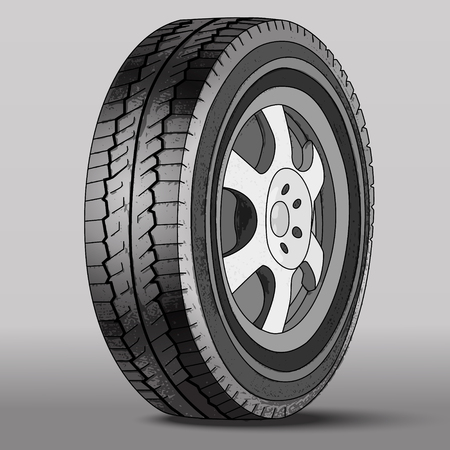 tubeless: Vector Illustration Car Wheel with Disk Brake