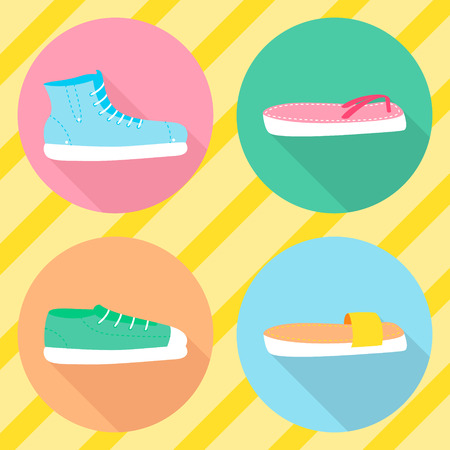 loafer: various types of summer shoes. Flat style. Side view.