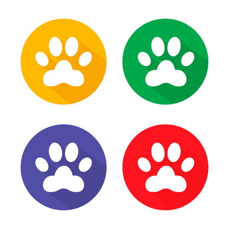 dog allowed: Dog paw sign icon. Pets symbol. Circle buttons with long shadow. 4 icons set. Vector illustration Illustration