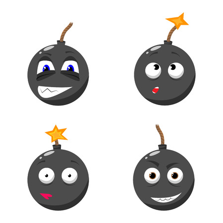groupe: cartoon emotion gray bomb with fire set Illustration