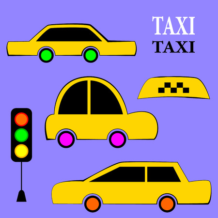 Vector set of different types of taxi cars and taxi signs flat vector illustration