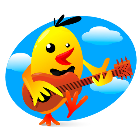 bard: Vector illustration of a yellow funny bird playing guitar Illustration
