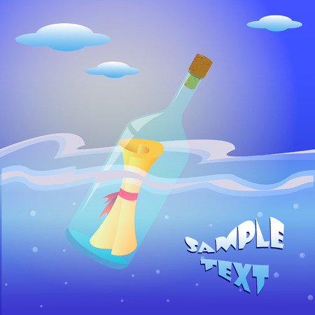 sent: Illustration of message in the bottle on sea card sample text wishes sent wishes send