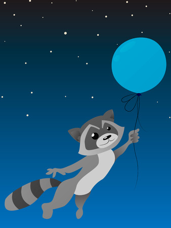 racoon: Isolated cute racoon with balloon on a night sky background