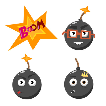 groupe: cartoon emotion gray bomb with fire set Illustration
