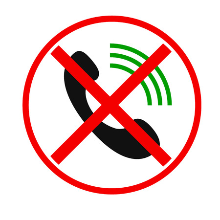 allow: Telephone not allow sign. Phone Call vector icon. Style is flat rounded symbol, gray color, rounded angles, white background.