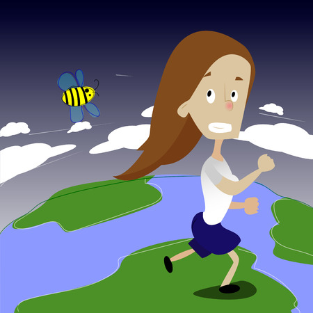 panicked: Cute girl running away from bee. Girl run on the Earth Illustration