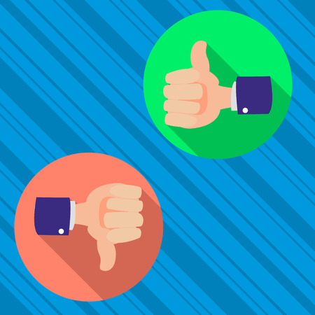 thumbs up and thumbs down, like and dislike concept vector flat Illustration