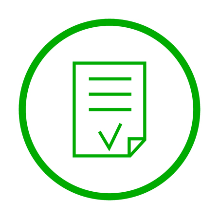 valid: Valid Document vector icon. Style is flat rounded symbol, eco green color, rounded angles, white background. Illustration