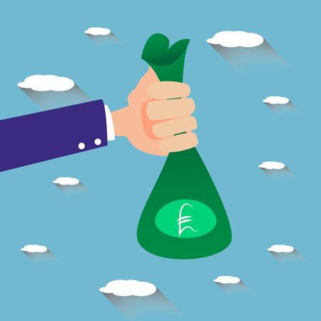 pound sterling: Mano que sostiene la bolsa de dinero verde con símbolo de la libra esterlina en él. Diseño plano