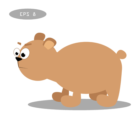 spectacled: Brown bear angry. Vector illustration, isolate on white background Illustration