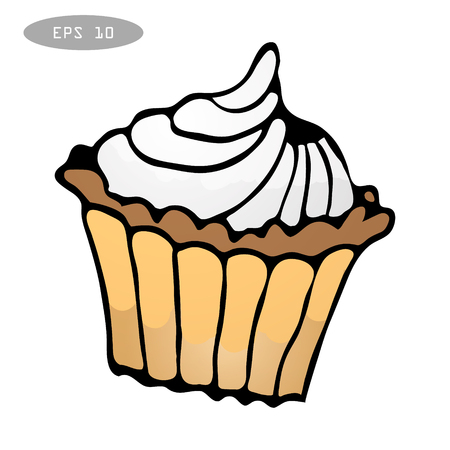 peachy: Sweet colorful cupcake isolated eps10 vector illustration