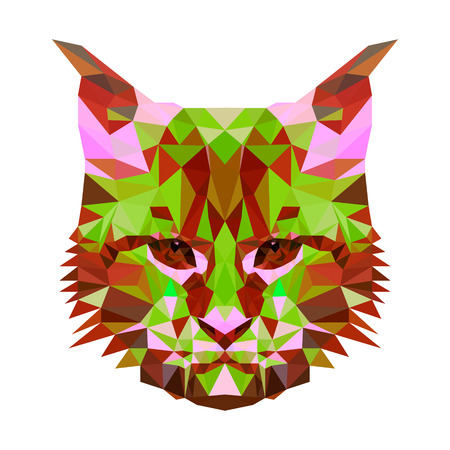 cat s: Vector low poly abstract portrait of a motley cat. Symmetrical portraits of animals. Vector Illustration, card, poster. Icon. Animal face. Image of a cat s face. Low-poly colorful style.