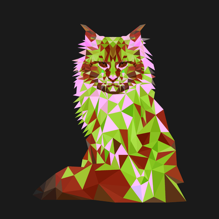 siamese: Low poly cat. Triangle polygonal stile siamese kitten. Flat design creative illustration.