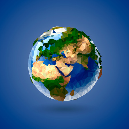 Vector low poly earth globe illustration of earth Vektorové ilustrace