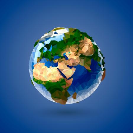 Vector low poly earth globe ilustración de la tierra Ilustración de vector