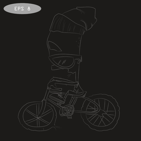 coolness: Cool cartoon cyclist on bike with glass. Toddler in cap riding. Vector illustration for t-shirt prints, logos, children products. Coolness. Sport.