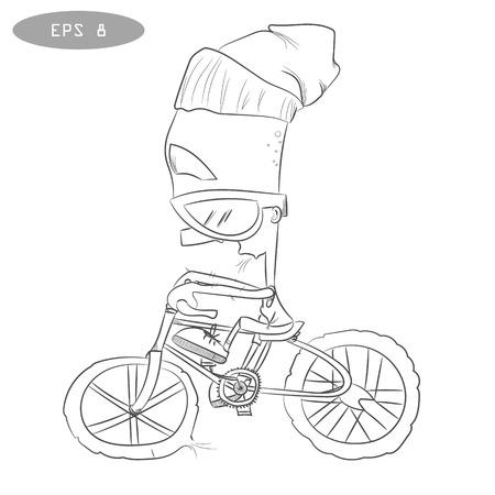 Fresco Niño En Bicicleta, Camiseta De Impresión. Ilustraciones ...
