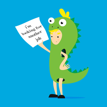 Promoter in dinosaur costume. flat cartoon illustration im searching another work