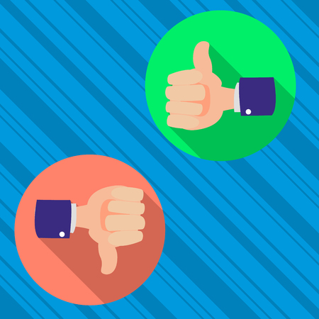 validation: thumbs up and thumbs down, like and dislike concept flat