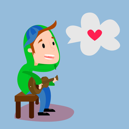 Boy playing guitar and sing about love flat. Side view