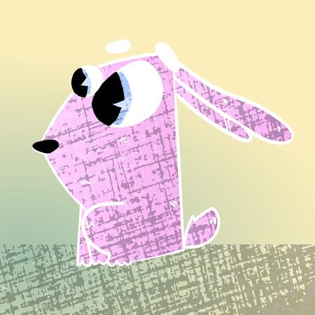 lowbrow: cute texturized cartoon rabbit