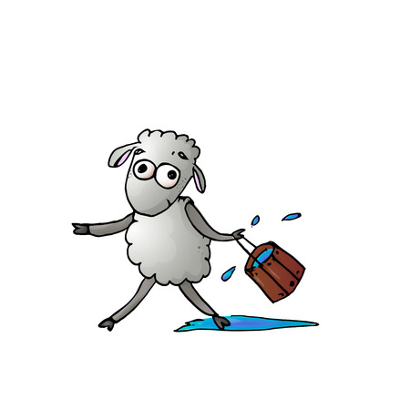cute color sheep with a bucket of water. vector Illustration