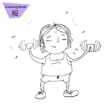 A cartoon man strains to lift weights and build his muscles. vector for coloring book