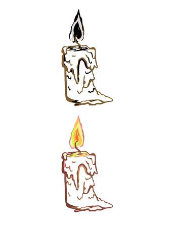 Simple linear illustration of candle. Illustration