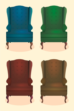 royal: Chair realistic icon set four identical chairs with different colors are soft colorful with wooden legs vector illustration Stock Photo