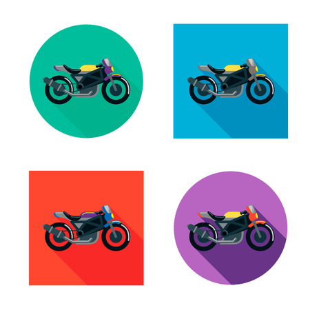 Vector motorcycles set in flat style. Vector illustrations with long shadow. Çizim