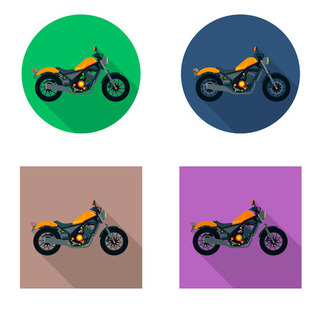 Vector motorcycles icon set in flat style. Vector illustrations with long shadow.
