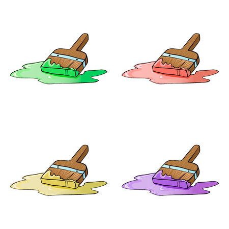 An illustration of a cartoon decorators paint brush painting four colors
