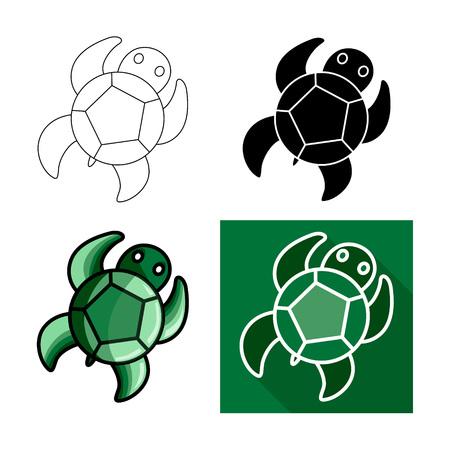 Sea turtle icon, Vector flat long shadow design.Lines turtle.Black turtle. Green turtle Illustration