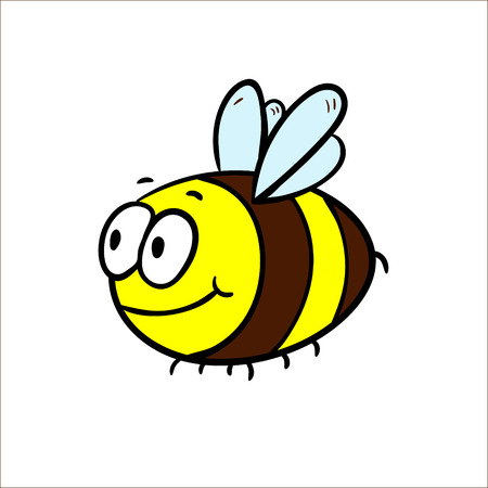 Illustration of a Friendly Cute Bee Flying and Smiling