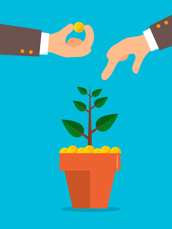 Illustration of a businessman hand holding a dirt with money tree for investment concept. Illustration
