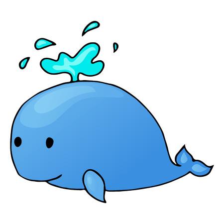 whale cartoon isolated Vettoriali
