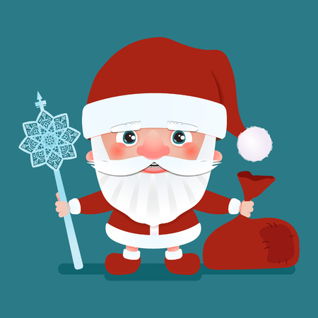 Santa Claus with a bag and crook stick. Vector illustration Stock Photo